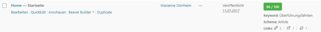 Ein Screenshot der Bewertungsskala von Rank Math, einem Tool, das SEO-Texte einschätzt.