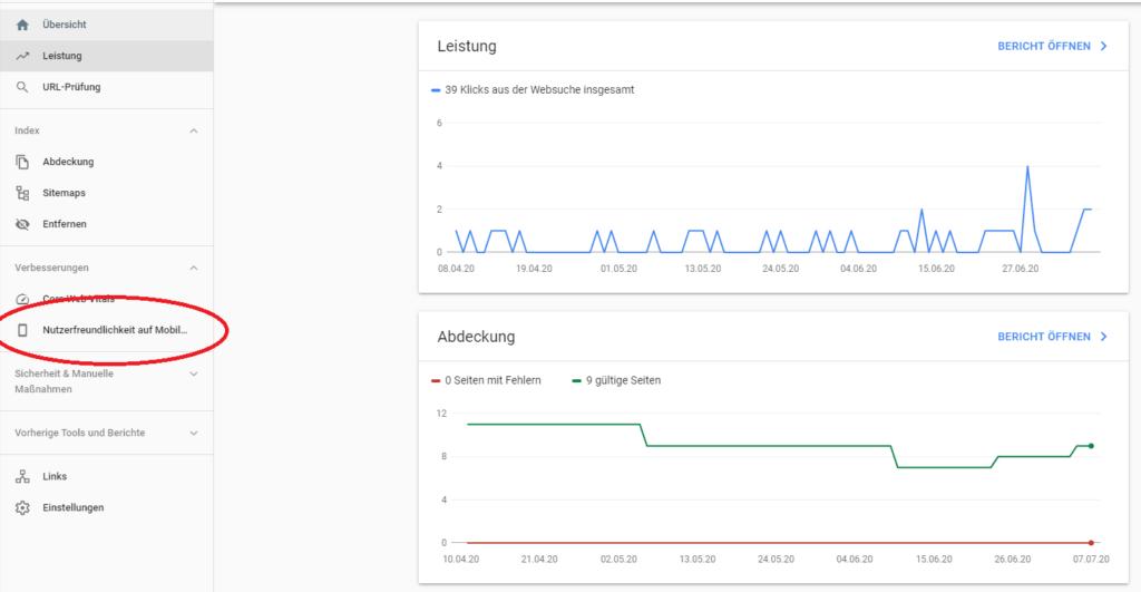 In der Google Search Console wird angezeigt, ob die Website bereits für den Mobile First Index optimiert ist.
