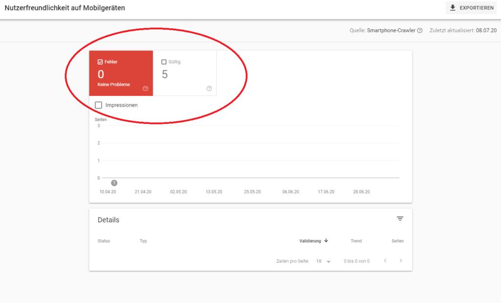 Ein Screenshot von einer Website, bei der in der Search Console null Fehler betreffend den Mobile First Index auflaufen.