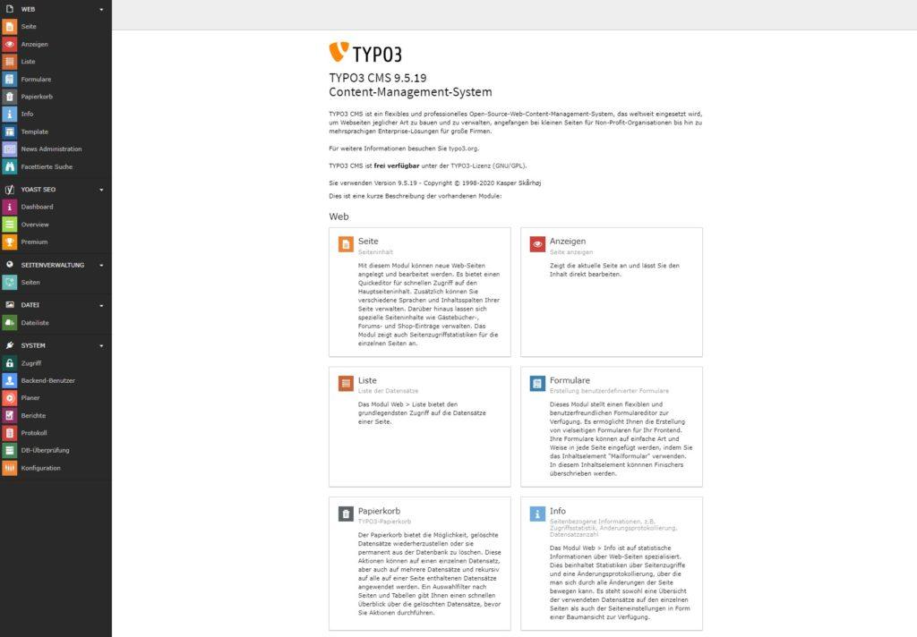 Ein Screenshot des Backends von TYPO3.