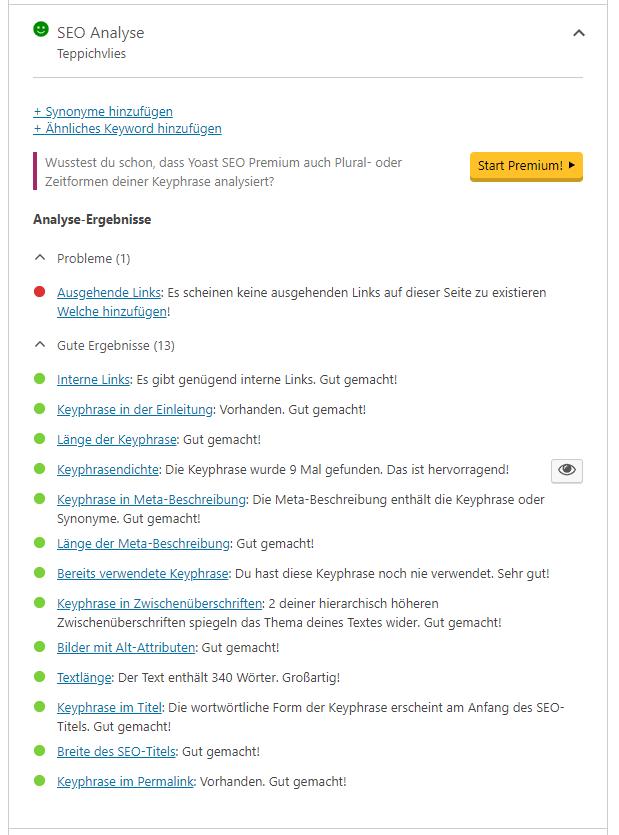 Ein Screenshot des Tools Yoast SEO, das Ihnen hilft, Ihre SEO-Texte zu bewerten.