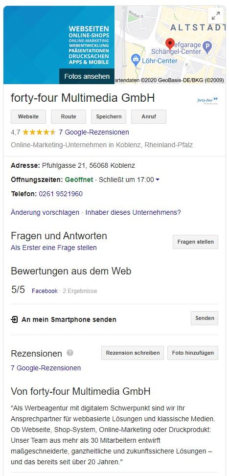 Der Google My Business-Eintrag der Digitalagentur forty-four Multimedia aus Koblenz.