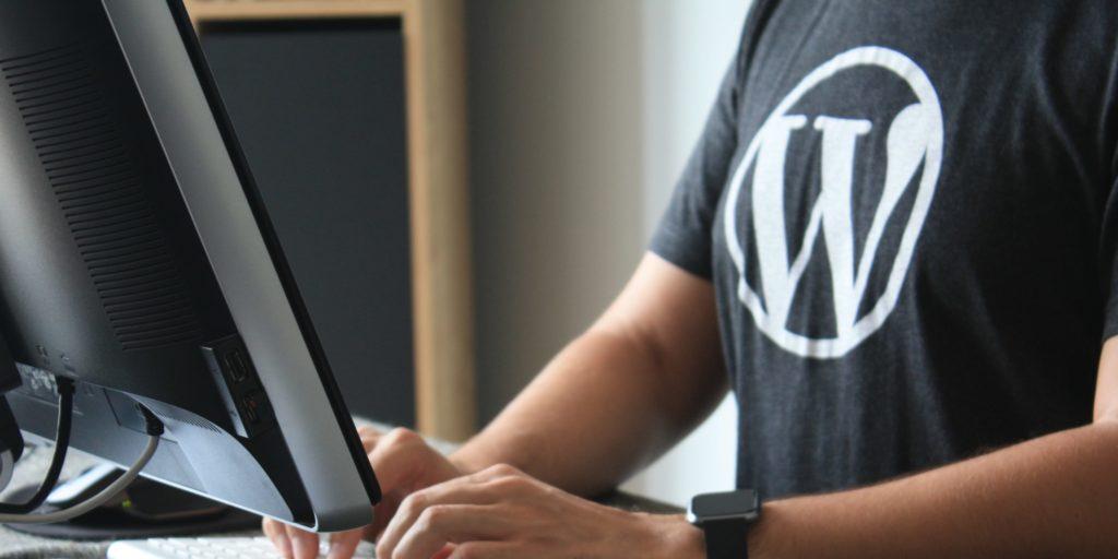 Ein junger Mann in WordPress-Kleidung programmiert am PC seine Website mit WordPress als CMS.