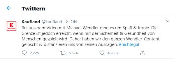 Ein Tweet von Kaufland zum Shitstorm in Bezug auf die Wendler-Kampagne.