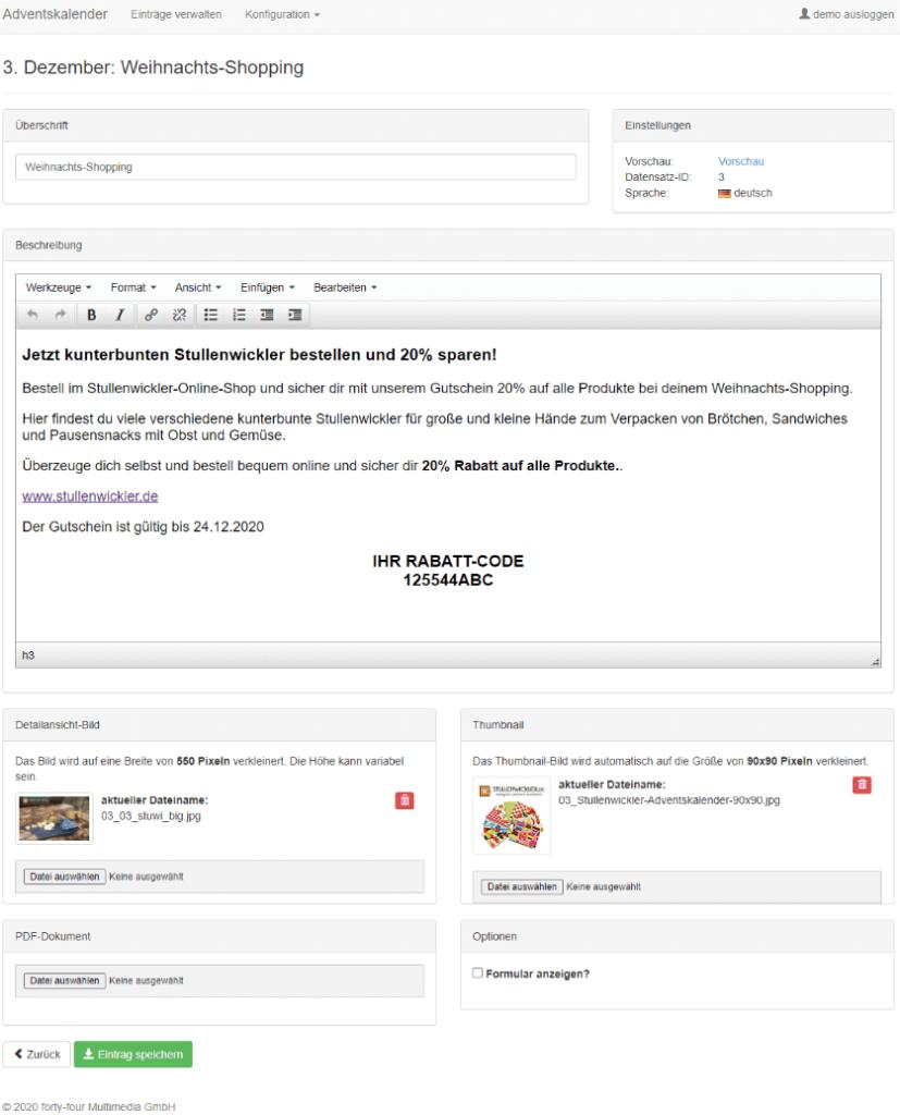 Screenshot des Backoffices des Online-Adventskalenders.