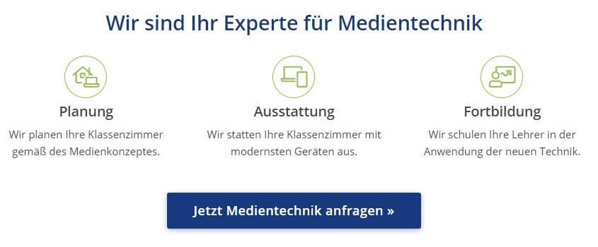 Screenshot von Icons und Zwischenelementen im Mittelteil einer Landingpage für Medientechnik.
