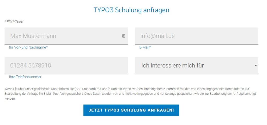 Screenshot der Kontaktmöglichkeit im Schlussbereich einer Landingpage zu TYPO3-Schulungen mit forty-four.