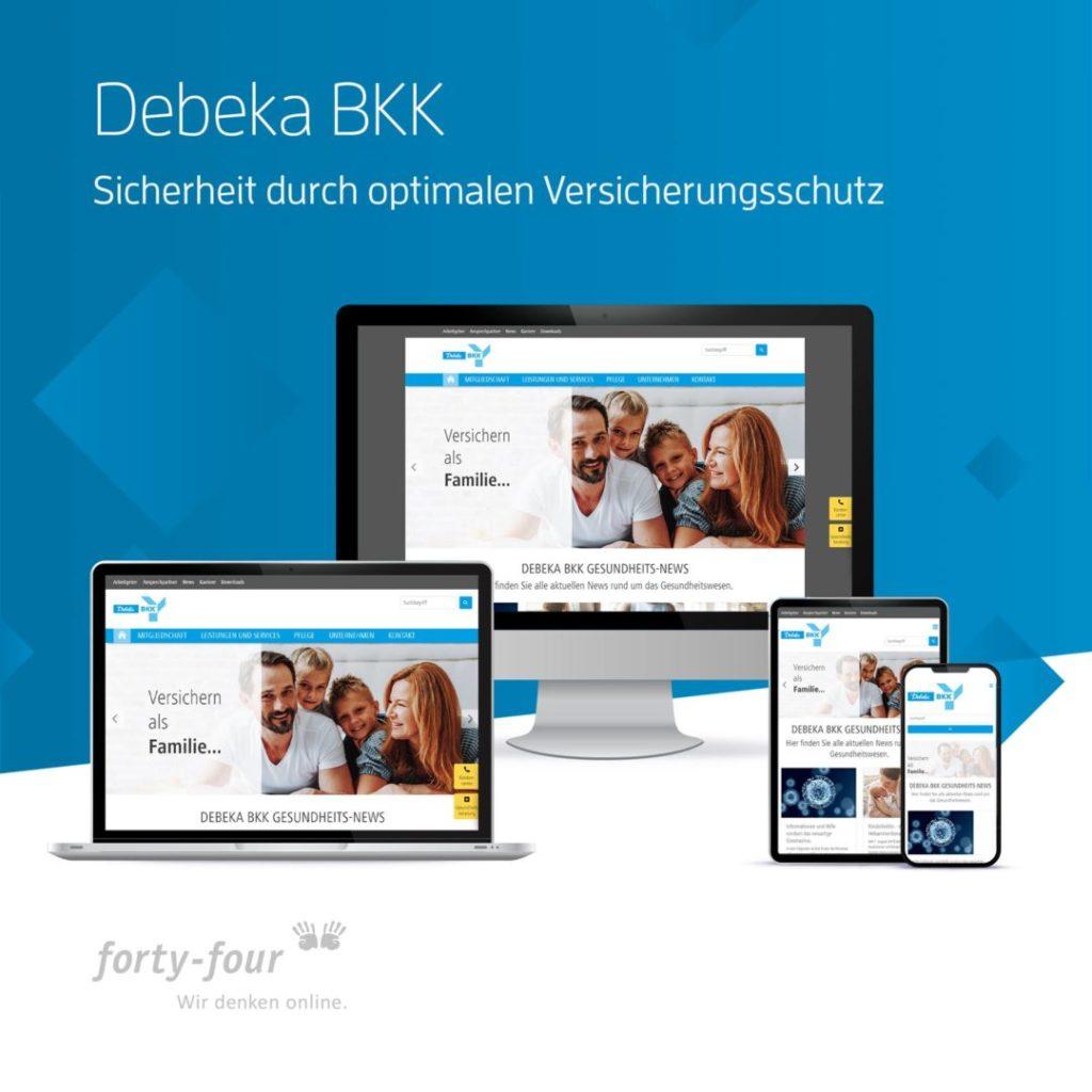 Vier Darstellungen der Website der Debeka BKK als Beispiel für Webdesign.