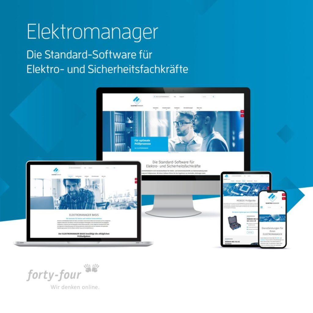 Vier Varianten der Website des Elektromanagers als Beispiel für gelungenes Webdesign.