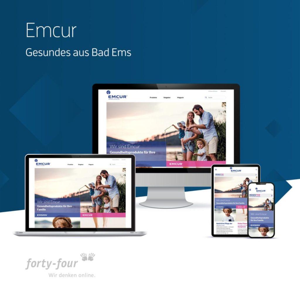 Die Website von Emcur als Beispiel für die Leistungen von forty-four, Webdesigner und Agentur aus Koblenz.