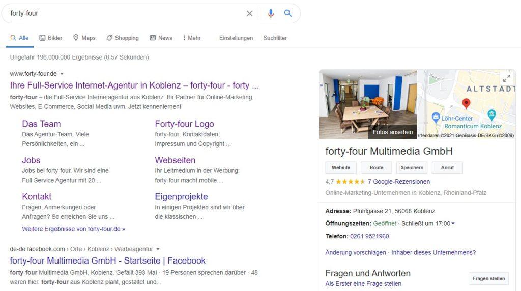 """Ein Screenshot der Suchergebnisse zum Begriff """"forty-four"""". Die Suchintention ist klar: Inhalte zur Agentur werden ausgespielt."""