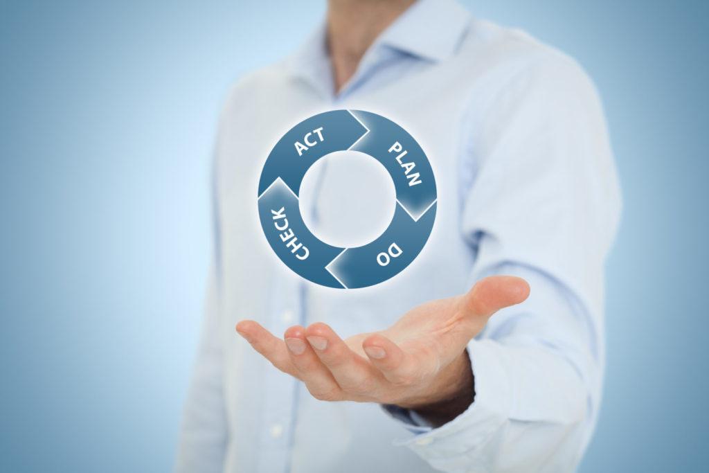 Ein Marketing Manager im Hemd hält seine Hand auf. Darüber schwebt eine grafische Darstellung des PDCA-Kreislaufs.