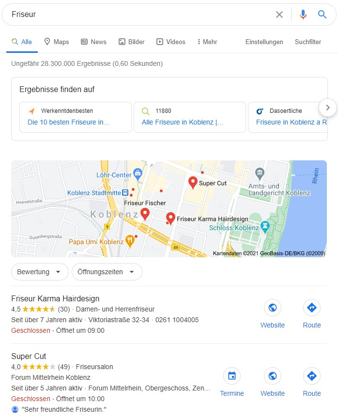 """Ein Beispiel für Local SEO: die Suchergebnisse für den Begriff """"Friseur"""""""