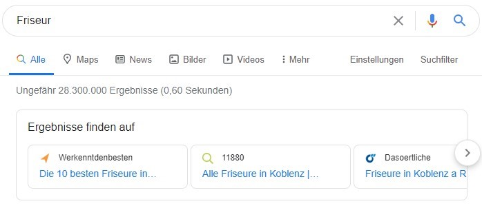 """Ein Screenshot der Verzeichnisse, die bei dem Suchbegriff """"Friseur"""" ausgespielt werden als Beispiel für Local SEO."""