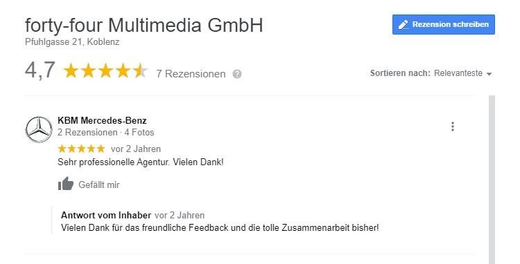 Ein Screenshot von einer lokalen Bewertung auf Google für die Agentur forty-four Multimedia aus Koblenz.