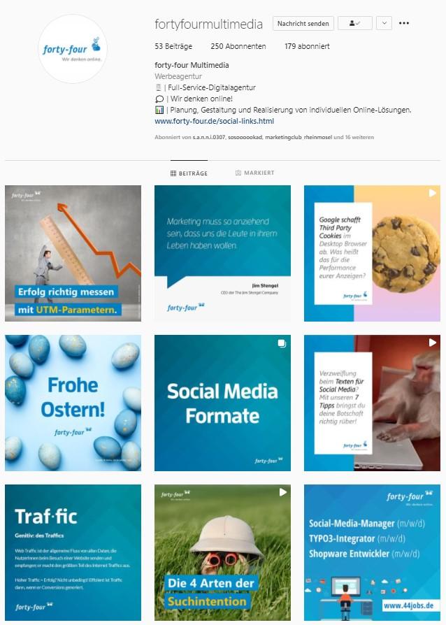 Ein Screenshot des Instagram-Feeds von  forty-four Multimedia, der Full-Service Digitalagentur für den Mittelstand aus Koblenz und Rheinland-Pfalz.