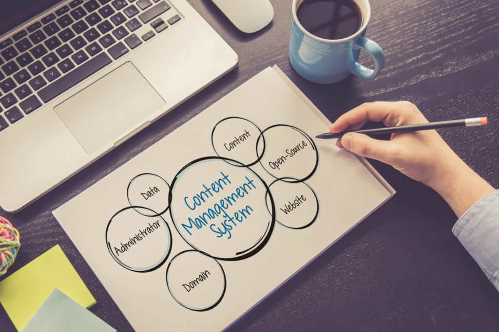 Eine Website-Expertin erstellt eine Mindmap zum Thema Content-Management-System.