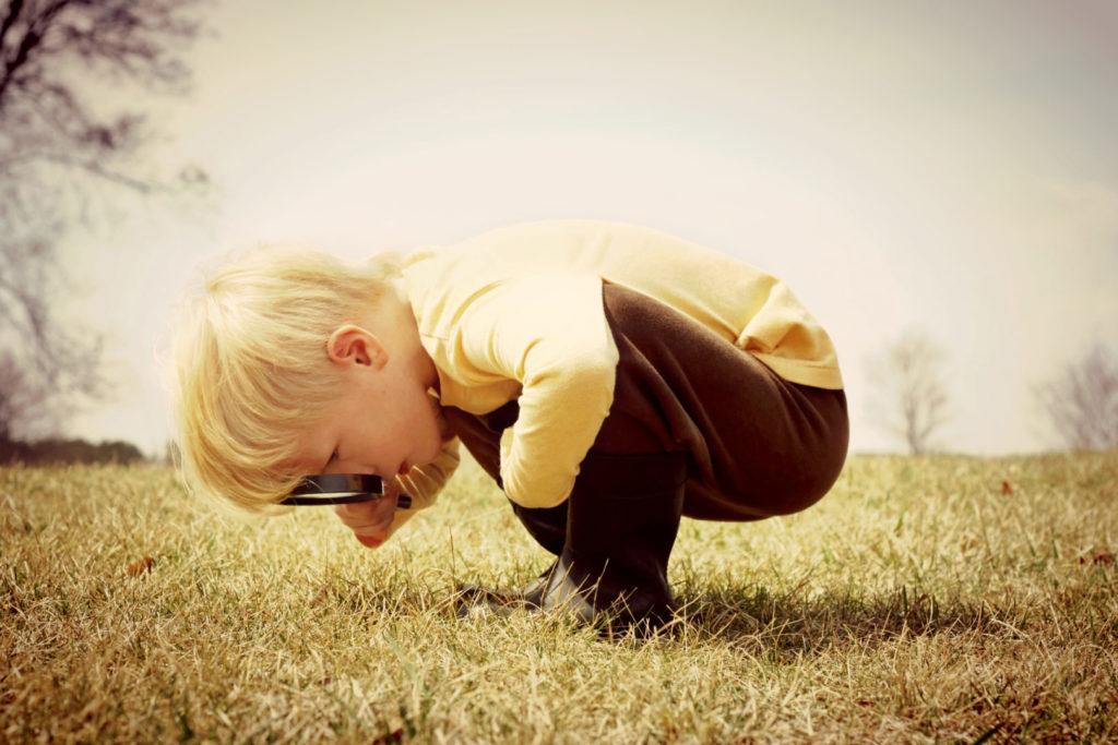 Ein Junge mit Lupe betrachtet etwas auf einer Wiese.
