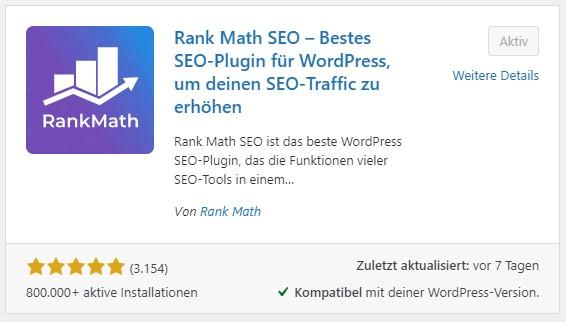 Ein Screenshot der Installationsübersicht von Rank Math im WordPress-Backend.