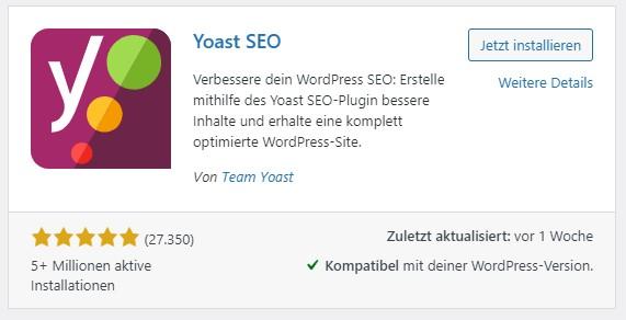 Ein Screenshot der Installationsübersicht von Yoast SEO im WordPress-Backend.